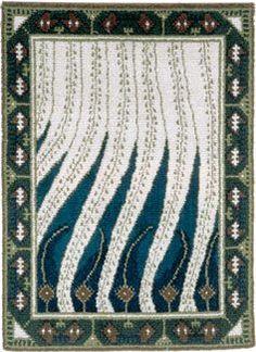 Probably the most famous finnish rya rug Liekki by Gallen-Kallela. Designed in 1900! Photo by Suomen Kästyön Ystävät
