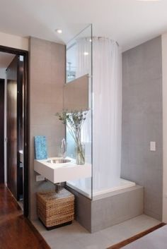 Astonishing White Shower Curtain Of Contemporary Small Bathroom: Cool  Contemporary Bathroom Design With White Shower Curtain Grey Colored Wa.