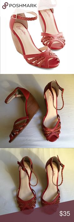 "Seychelles wedge {Seychelles} ""All The Time"" sandal heels. Size 9.5. Gently used condition. Beautiful red braided details. Anthropologie Shoes Wedges"