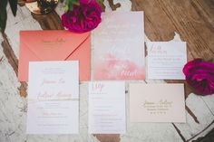 watercolor wedding invitations - photo by Melissa Biador http://ruffledblog.com/mixed-metals-wedding-in-la-jolla