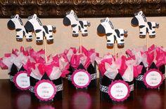 Zebra Print Baby Shower or Birthday Centerpieces Hot Pink. $38.00, via Etsy.