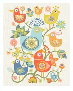 "Groovy Tweeters a new print - a CbyC Original Illustration entitled ""Birds of a Feather"""