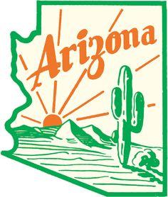 Arizona Cactus Vintage Travel Decal
