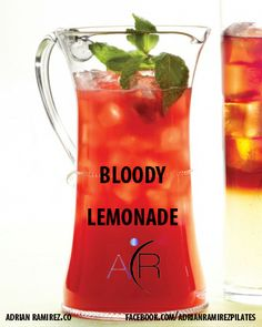 """A Bloody Mary might fight off hangovers but a Bloody lemonade has a rich source of cancer-fighting antioxidants as well as fiber and vitamin C.   Try this """"BLOODY LEMONADE""""  Find recipe at www.facebook.com/adrianramirezpilates   #healthylifestyle #drinkinghelathy #morethanpilates www.adrianramirez.co"""