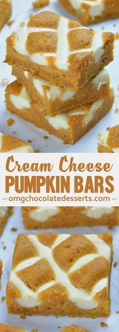 Pumpkin Bars with Cream Cheese is simple and easy dessert recipe for fall baking season, especially to be served as a dessert at Halloween party or as light and easy dessert after Thanksgiving dinner. # simple Desserts Pumpkin Bars with Cream Cheese Fall Recipes, Holiday Recipes, Holiday Desert Recipe, Pumpkin Dinner Recipes, Pumpkin Baking Recipes, Holiday Desserts, Dip Recipes, Just Desserts, Dessert Recipes