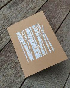 Linocut birch greeting card by Hearth and Harrow . Linocut birch greeting card by Hearth and Harro Linoleum Block Printing, Stamp Carving, Linoprint, Art Graphique, Tampons, Linocut Prints, Woodblock Print, Screen Printing, Print Patterns