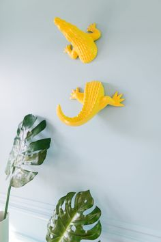 Office Details: Yellow crocodile climbing the wall!