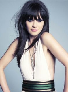To cut or not to cut. Bangs. That is the question. Zoey Deschanel bangs and long straight hair.