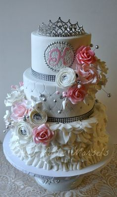 Sweet 16 Cake ~ sugar flowers and petals
