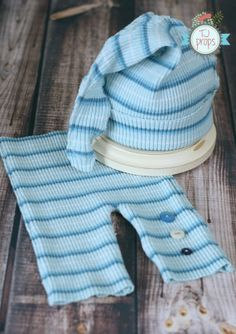 Newborn BOYS Set, Blue and White, Horizontal  Stripe, Pant and Hat, Upcycled, Photography Prop