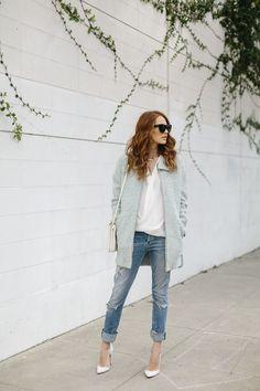 Mint coat and boyfriend jeans