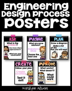 Engineering Design Process Posters - Elementary - Design 2! Ask, Imagine, Plan, Create, Improve
