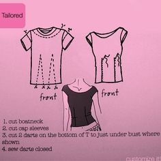 T-shirt refashion – yet another way to redo some over-sized t-shirts into something more fitted and flattering.