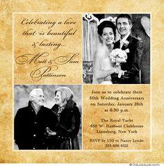 50th Wedding Anniversary Invitations Golden Marriage 50th