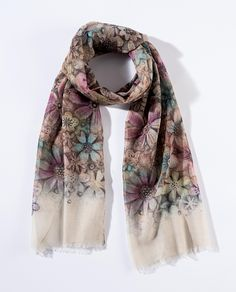 A28230 Style & Gracie Floral Scarf- This beautifully designed scarf with an all over floral print, and muted tones would be a wonderful addition to any outfit #Style #Enesco #Scarf