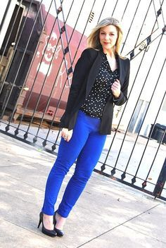 royal blue and black and white polka dot skirt outfits - Google Search