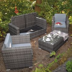 poly rattan lounge gartenset grau sofa garnitur polyrattan, Garten und erstellen