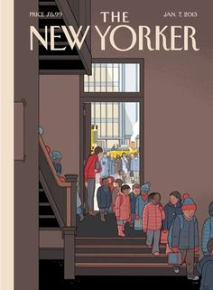 Chris Ware's post-Newtown New Yorker cover, January 2013. A sad companion to his back-to-school cover a few months earlier, which showed all the parents texting and tweeting and checking e-mail as soon as the kids entered the school.