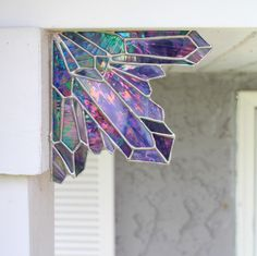 Pinterest: @MagicAndCats ☾ http://sosuperawesome.com/post/163429618590/stained-glass-corner-and-shelf-crystal-clusters