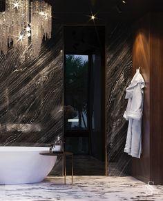 In this magnificent bathroom, we also used marble and solid wood. ~ В этой великолепной ванной комнате мы также использовали мрамор и массив дерева.