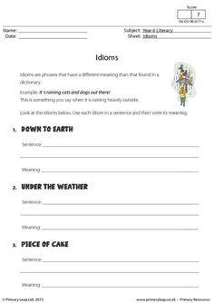 PrimaryLeap.co.uk - Defining Idioms Worksheet