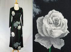 Vintage 70's Black MAXI Dress POP ART Graphic Roses by madvintage