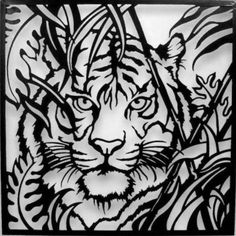 tiger paper cut out | Our Tiger with Leaves Metal Wall Art features the majestic big cat ...
