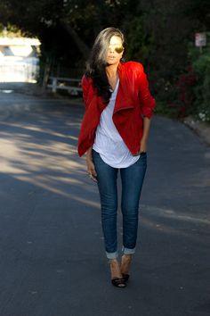 Red jacket white top dark jeans