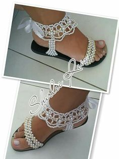 Amazing Pair Of Bridal Flip Beaded Shoes, Beaded Sandals, Beaded Jewelry, Flip Flop Shoes, Flip Flops, Bridal Shoes, Wedding Shoes, Flip Flop Craft, Decorated Shoes