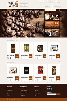 Template 42640 'Coffee Store' Magento Template #webdesign http://zign.nl/42640