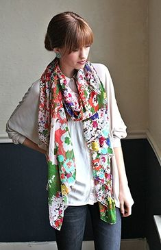Women's Emma Chiffon Floral Multicolor Fashion Scarf Floral Fashion, Fashion Prints, Women's Fashion, Ladies Fashion, Fashion Ideas, Floral Scarf, Floral Chiffon, Scarf Styles, Womens Scarves
