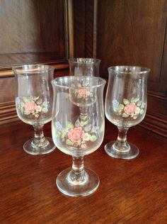 Pfaltzgraff Tea Rose Footed Glasses, Set of 4