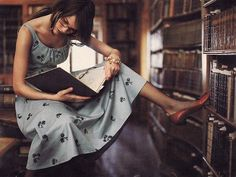 Library-themed catalogue shoot, Anthropologie, Autumn 2004.