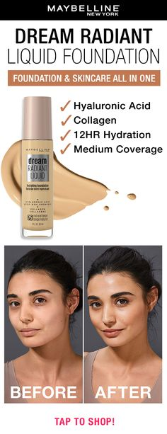 Get a radiant look plus 12 hours of hydration Maybelline's Dream Radiant Liquid Foundation! Formulated with hyaluronic acid and collegen, this foundation leaves your skin looking luminous with a flawless finish. Tap to find your shade using our foundation finder!