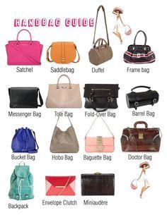 Handbag Guide Types Of Purses Purse Handbags Fashion