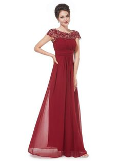 Ever Pretty Women's Cap Sleeve Lace Neckline Ruched Bust Evening Gown 09993 | Amazon.com