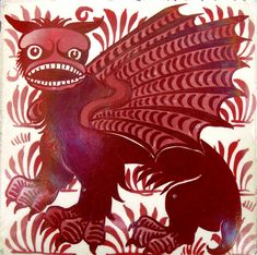 """""""Bogey"""" tile by William De Morgan in red lustre. From the fantastic animals range, this tile was called 'Bogey' by Mrs Stirling in her book about William De Morgan (and his wife). Not to be reproduced without permission"""