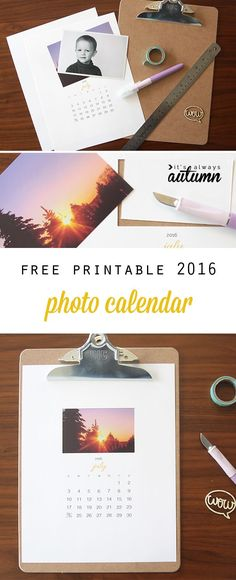 How pretty! Free printable 2016 photo calendar - just add your own photos for an easy, cheap handmade DIY gift idea - perfect for Christmas!