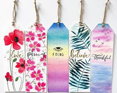 Good Vibes Charity Bookmarks - A little help for Chiara Creative Bookmarks, Cute Bookmarks, Paper Bookmarks, Bookmark Craft, Watercolor Bookmarks, Watercolor Cards, Floral Watercolor, Bookmark Ideas, Watercolour