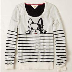 Anthropologie Monogram French Bulldog Sweater Top Loved, in good condition. Brand is Monogram from Anthropologie Anthropologie Sweaters Crew & Scoop Necks