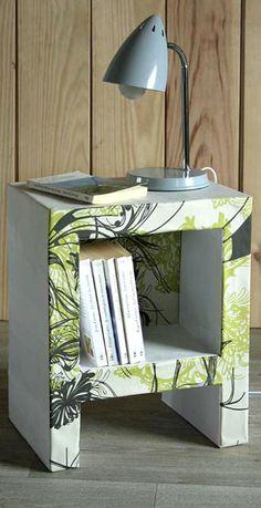 Tuto:Table de chevet en carton + patron by Esprit Cabane