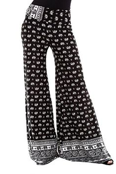 c9fee60c9ad Womens Various Print Fold Over Waist Palazzo Pants at Amazon Women s  Clothing store