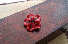 Large Dark Red Flower Brooch  Bordeaux Color by EvasCreationsShop