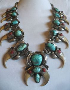 Rare Vintage NAVAJO Sterling Silver Turquoise & Coral SQUASH BLOSSOM NECKLACE #AUTHENTICVINTAGENATIVEAMERICANJEWELRY