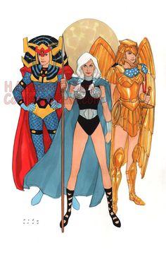 Phil Noto - Valkyrie, Wonder Woman, Big Barda (The 3 Lady Warriors) Dc Comics Girls, Dc Comics Art, Bruce Timm, Marvel Vs, Marvel Comics, Marvel Women, Justice League, Comic Character, Character Design