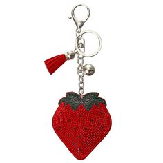 Item Type: Strawberry Keychain Design: Rhinestone Strawberry Charm with Tassels Uses: Key Chain, Bag Charm Gender: Women Material: Crystal, PU Leather Metal Type: Zinc Alloy Metal Color: Silver Shape: Strawberry Closure Type: Clasp Charm Size: x Leather Tassel, Pu Leather, Keychain Design, Key Chain Rings, Kids Jewelry, Cute Girls, Tassels, Strawberry, Charmed