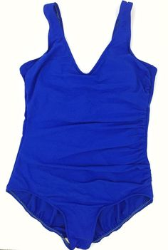 Lands' End Sz 16 One Piece Swimsuit Royal Blue Ruched Padded Shelf Bra V Neck   eBay