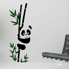Make your wall come to life with this panda wall art decal. This high-quality vinyl set features a cute panda on a bamboo stalk and brightly colored leaves. Self-adhesive and featuring a matte-finish, these decals are convenient and eye-catching. Wall Art Designs, Paint Designs, Bamboo Stalks, Decorative Pebbles, Blue Ceilings, Bamboo Wall, Floral Pillows, Hand Painting Art, Vinyl Wall Decals