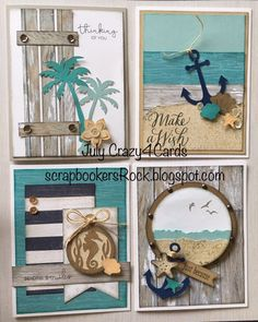 Join us this month to make these funtastic cards using the No Worries papers. - Join us this month to make these funtastic cards using the No Worries papers. Please contact me for - Atc Cards, Stampin Up Cards, Nautical Cards, Beach Cards, Artist Trading Cards, Masculine Cards, Cool Cards, Scrapbook Cards, Friend Scrapbook