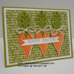 Hi Stampers, I am trying to think outside the box, so to speak, to come up with different ideas for holiday cards with not just necessarily holiday stamps. So, this time, I reached for my Flower Patch stamp set and Flower Fair framelits to make carrots. I would love if...